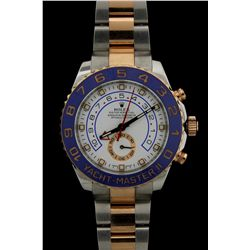 ROLEX: Mens st.steel & 18kr ''Rolesor'' Rolex O.P. Yacht-Master II Date wristwatch; 44.0mm case; whi