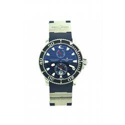 WATCH: Mens st.steel Ulysse Nardin Blue Surf Maxi Marine chronograph wristwatch; 41mm case; wave tex