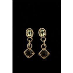 EARRINGS: Pair ladys 14ky quartz & diamond dangle earrings; 2 cushion ckrbd smoky quartz, 6.11mm x 6