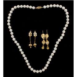EARRINGS: Pair ladys 21kt pave cubic zirconia bead dangle earrings; 8.0mm beads w 42 cz's, 2.25mm; 1