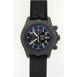 WATCH: Mens blackened st.steel Breitling AeroMarine Super Avenger Limited Edition wristwatch; black