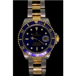 ROLEX: Mens st.steel & 18ky Rolex O.P. Submariner Date wristwatch; blue dial w/ lumin index; unidire