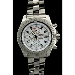 WATCH: Mens st.steel Breitling Aeromarine Super Avenger wristwatch; white dial & sub-dials (3), silv