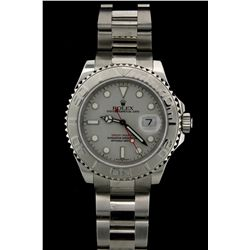 ROLEX: Mens st.steel & plat Rolex O.P. Yacht-Master wristwatch; platinum dial w/ lumin index; plat b