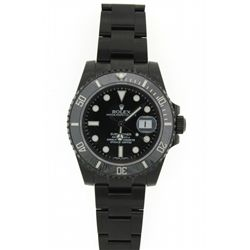 ROLEX: Mens black finished st.steel Rolex O.P. Submariner Date wristwatch; black dial w/ lumin index