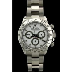 ROLEX: Mens st.steel Rolex O.P. Daytona Cosmograph wristwatch; white dial w/ lumin stick index; syn