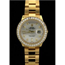ROLEX: Mens 18ky Rolex O.P. Day Date wristwatch w/ aftmkt diamond apptmnts; white MOP dial w/ 2 bag