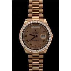 ROLEX: Mens 18kr Rolex O.P. Day Date II wristwatch w/ aftmkt diamond bezel; 42mm case; everose dial