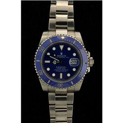 ROLEX: Mens 18kw Rolex O.P. Submariner Date wristwatch; blue dial w/ lumin index; 18kw unidirectiona
