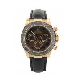 ROLEX: Mens 18kr Rolex O.P. Daytona Cosmograph wristwatch; dark brown dial w/ black Arabic index; bl