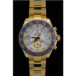 ROLEX: Mens 18ky Rolex O.P. Yacht-Master II wristwatch; white dial w/ lumin index; 18ky bi-direction