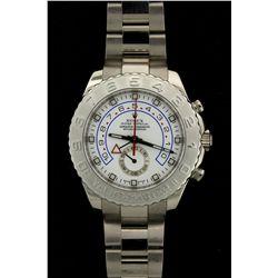 ROLEX: Mens 18kw & plat Rolex O.P. Yacht-Master II wristwatch; white dial w/ lumin index; plat bi-di