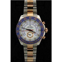 ROLEX: Mens st.steel & 18kr Rolex O.P. Yacht-Master II wristwatch; white dial w/ lumin index; 18kr b