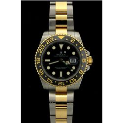 ROLEX: Mens st.steel & 18ky Rolex O.P. GMT-Master II wristwatch; black dial w/ lumin index, green GM