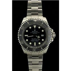 ROLEX: Mens st.steel Rolex O.P. DeepSea SeaDweller Date wristwatch; black dial w/ lumin index; unidi