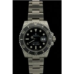 ROLEX: Mens st.steel Rolex O.P. Submariner Date wristwatch; black dial w/ lumin index; unidirectiona