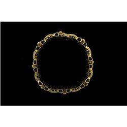 BRACELET: Mens 14ky ''invisible'' set diamond link bracelet; 80 sq prin dias, 1.8mm-1.9mm = est 2.96
