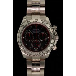 ROLEX: Mens 18kw Rolex O.P. Daytona Cosmograph wristwatch; black Arabic dial & sub-dials (3), red re