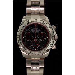 ROLEX: Mens 18kw Rolex O.P. Daytona Cosmograph wristwatch; black Arabic dial & sub-dials (3), red re