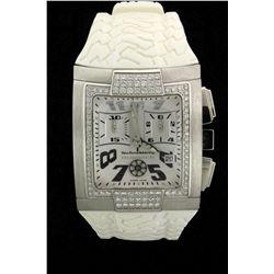WATCH: Mens st.steel TechnoMarine Hummer chronograph diamond wristwatch; white Arabic dial & sub-dia