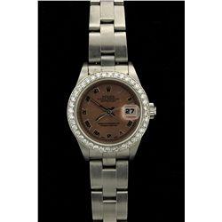 ROLEX: Ladys st.steel Rolex O.P. Date wristwatch; aftmkt 14kw diamond bezel, 40 rb dias, 1.9mm = est