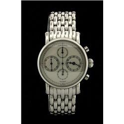 WATCH: Mens st.steel ChronoSwiss Kairos chronograph wristwatch; silver flinque dial & sub-dials (4);