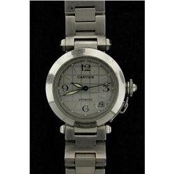 WATCH: Mens st.steel Cartier Pasha C wristwatch; silver sunburst grid dial; link bracelet (2 deploya