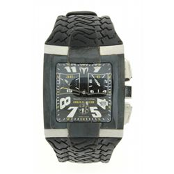 WATCH: Mens st.steel & black finished TechnoMarine Hummer chronograph wristwatch; black Arabic dial