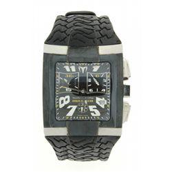 WATCH: Mens st.steel & black finished TechnoMarine Hummer chronograph wristwatch; black Arabic dial