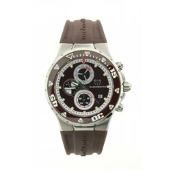 WATCH: Mens st.steel TechnoMarine Jubilee chronograph wristwatch; brown dial; brown insert unidirect