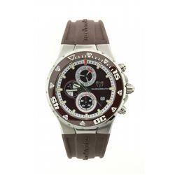 WATCH: Mens st.steel TechnoMarine Jubilee chronograph wristwatch; brown dial; brown insert unidirect