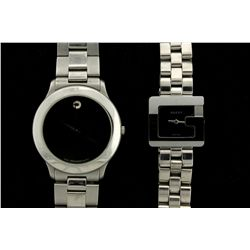 WATCH: Ladys st.steel Gucci 3600L wristwatch; black dial; square G case; link bracelet; quartz mvmt;