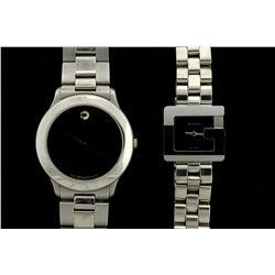 WATCH: Ladys st.steel Gucci 3600L wristwatch; black dial; square G case; link bracelet; quartz mvmt;