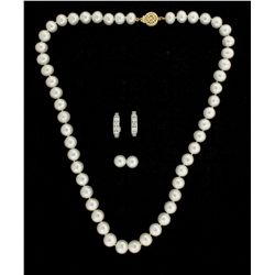 EARRINGS: Mens 14ky cultured Akoya pearl earstuds; 8.12mm diameter, spherical, white w/ greenish-ros