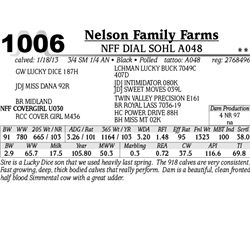 Lot 1006 - NFF DIAL SOHL A048 - Nelson Family Farms