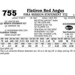 Lot 755 - FIRA MISSION STATEMENT 332 - MJB Ranch
