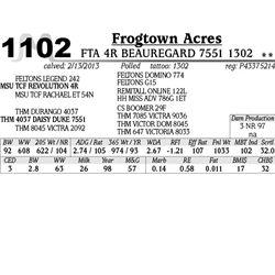Lot 1102 - FTA 4R BEAUREGARD 7551 1302 - Frogtown Acres