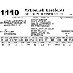 Lot 1110 - SF ROF 211R CINCH 101 ET - McDonnell Herefords