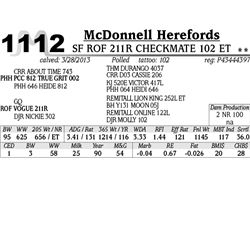 Lot 1112 - SF ROF 211R CHECKMATE 102 ET - McDonnell Herefords