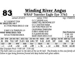 Lot 83 - WRAF Traveler Eagle Eye 3765 - Winding River Angus