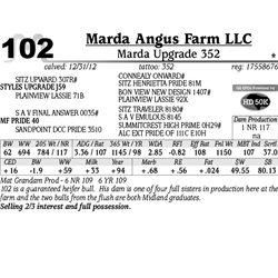 Lot 102 - Marda Upgrade 352 - Marda Angus Farm LLC