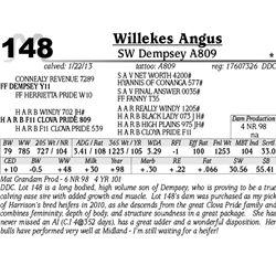 Lot 148 - SW Dempsey A809 - Willekes Angus