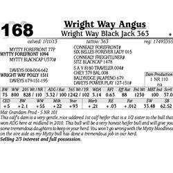 Lot 168 - Wright Way Black Jack 363 - Wright Way Angus