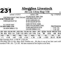 Lot 231 - Ab-Lvs Ultra-Mag 338 - Abegglen Livestock