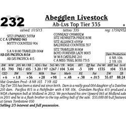 Lot 232 - Ab-Lvs Top Tier 335 - Abegglen Livestock