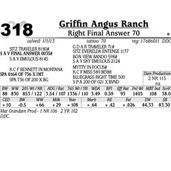 Lot 318 - Right Final Answer 70 - Griffin Angus Ranch