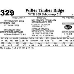 Lot 329 - WTR 109 Tebow-up 312 - Willer Timber Ridge