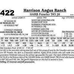 Lot 422 - HARB Prowler 393 JH - Harrison Angus Ranch