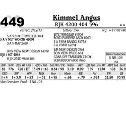 Lot 449 - RJK 4200 404 396 - Kimmel Angus