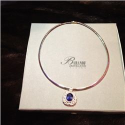 Natural Blue Violet Tanzanite and Diamond Pendent